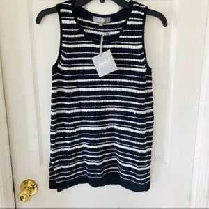 NWT MARLED navy striped knit sweater top size M